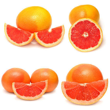 Collection of sliced ??grapefruit isolated on white background photo