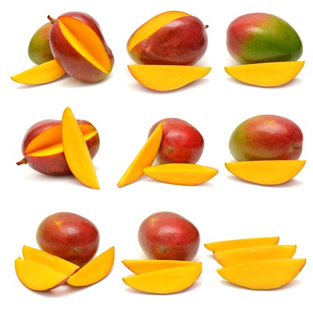 green mango: Collection of mango isolated on white background