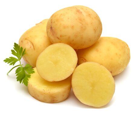 Potato and parsley isolated on white background photo