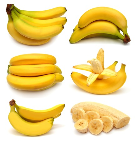Collection of bananas isolated on white background photo