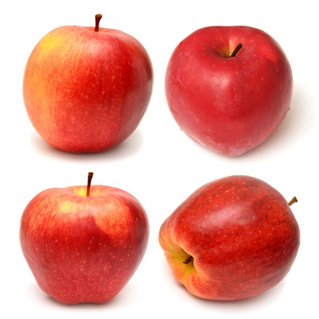 Collection of red apples isolated on white background photo