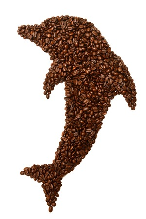 Dolphin is laid out coffee beans isolated on white background photo