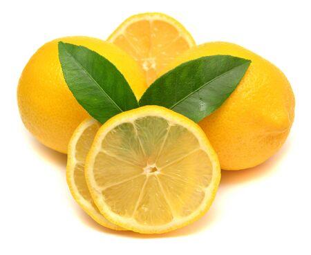 Lemons with leaves isolated on white background photo