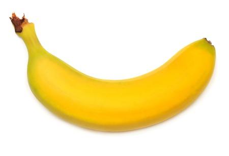 Single banana against white background 版權商用圖片