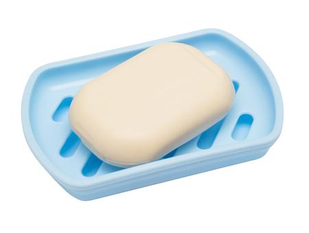 ソープディッシュは、白い背景で隔離の石鹸します。フラット横たわっていた、トップ ビュー 写真素材