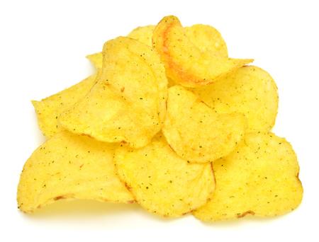 Potato chips isolated on white background Foto de archivo
