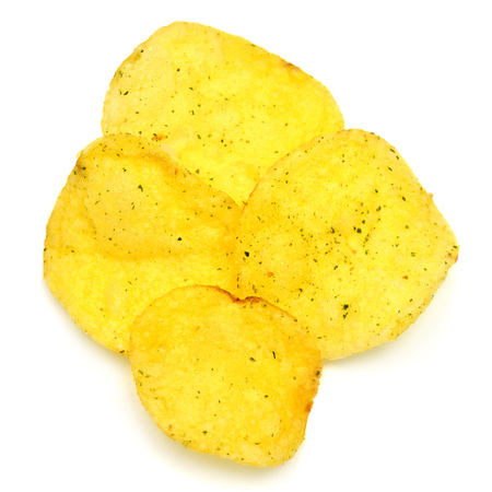 titbits: Potato chips isolated on white background Stock Photo