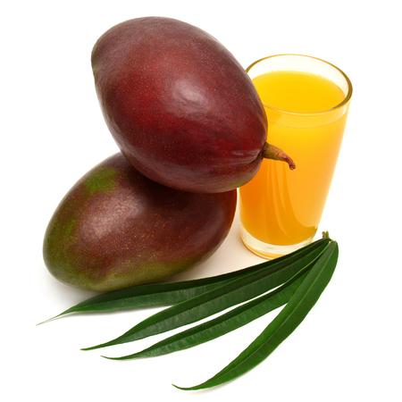 Mango and mango juice with leaves isolated on white background