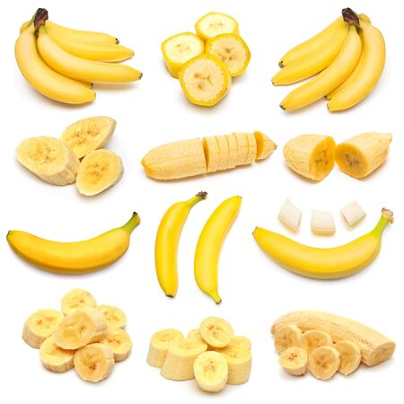 Bananas collection isolated on white background. Flat lay, top view