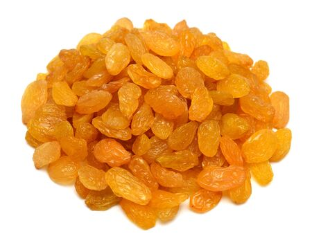Yellow golden raisins isolated on white background. Flat lay, top view