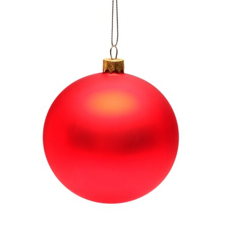 Red christmas ball isolated on white background. Flat lay, top view. Creative concept Standard-Bild