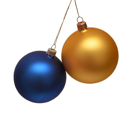 Two christmas balls isolated on a white background. Flat lay, top view. Creative concept