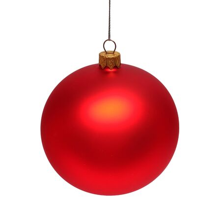 Red christmas ball isolated on white background. Flat lay, top view. Creative New Year concept