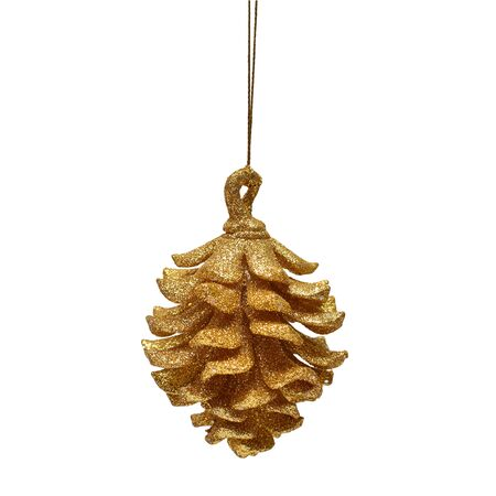 Christmas toy. Pine Cone isolated on white background. Flat lay, top view. Creative New Year concept Imagens