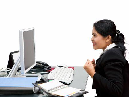 The happy secretary when he suceed finishing her job. Stock Photo - 3658863