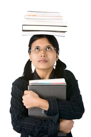 She looked the books (burden) she must carry getting more heavier as higher education she received.