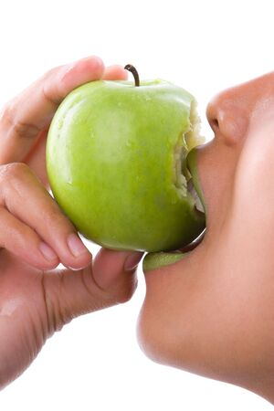 the model use the same lipstick colour as the apple and bite the bottom side of the bitten apple photo