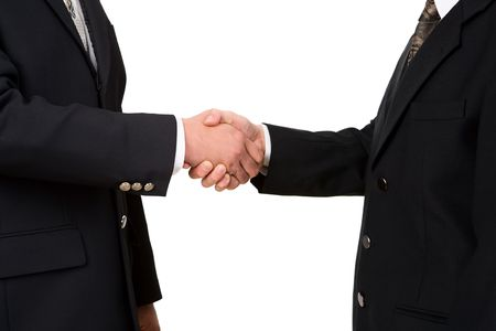 bilateral: Two business leader shake hand against white background Stock Photo