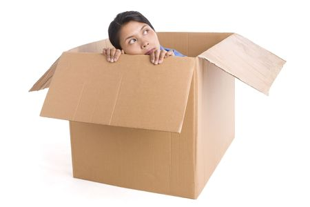 A young woman is looking away from inside the box. Looks like she is expecting something. Stock Photo - 3802608