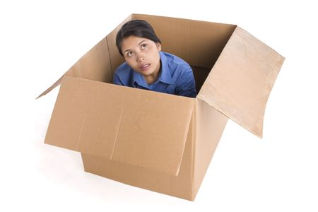 A young woman look seriously thinking about something and looking outside the box. Stock Photo - 3802612