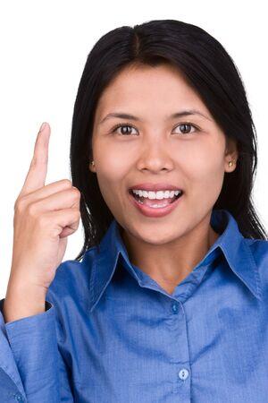 vorschlag: Eine junge Frau Ausdruck, wenn sie neue Idee. Shoot gegen sehr hellen weißen Schirm als Hintergrund zu trennen und ihr Hintergrund natürlich. Lizenzfreie Bilder