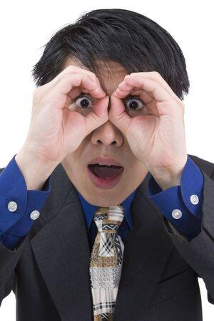 sorprendido: Un joven empresario es sorprendido mientras espiar a alguien.