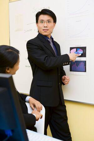 A businessman is explaining the companys plan.