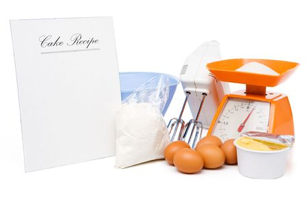 cake mixer: Blank cake recipe with ingredients (eggs, sugar on scale, flour, milk butter, mixer and bowl)