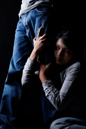 dominate: Portrait to show man domination over woman. Stock Photo
