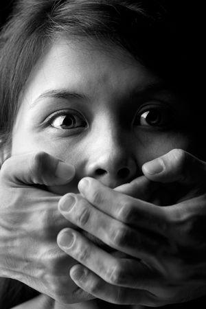 feministische: Jonge vrouw wordt monddood Stockfoto