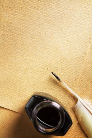 manuscripts: Old blank paper with quill pen and ink