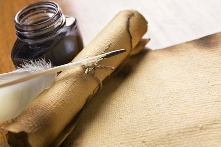 Old blank paper, scroll with quill pen and ink on wooden table Stock Photo - 5129073
