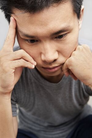 Portait of Asian man  expression in depression