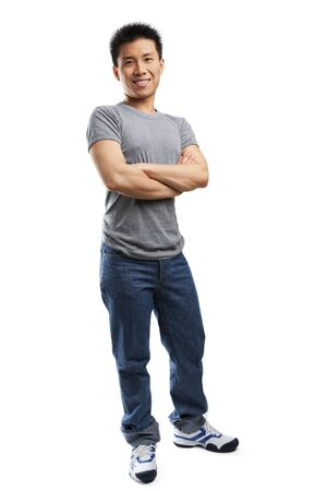 Studio portrait of  young fitness Asian man full body Stock Photo - 5381846