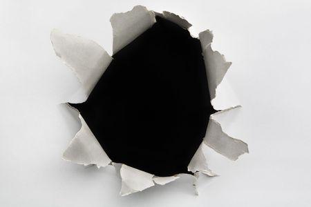 Leeres Loch auf rissigen Wand Standard-Bild