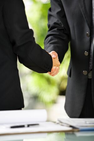 cohesive: Close up vertical portrait of two businessman handshaking, East Asian skintone Stock Photo