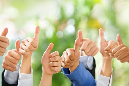 green thumb: Thumbs up from diverse group of people on green background