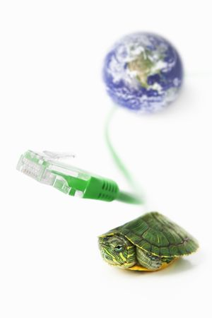 The concept for slow internet speed or green technology using the world globe from NASA. PS: world globe source from http:visibleearth.nasa.gov photo