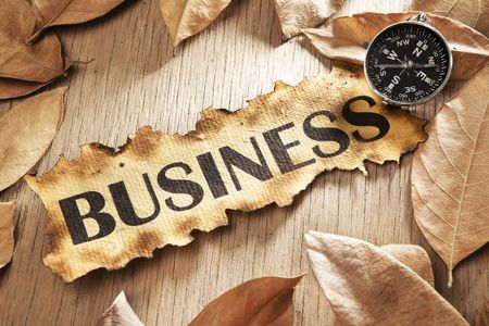 Guidance in business concept using printed word on burnt paper along with compass, surrounded by dry leaf Stock Photo - 5557677