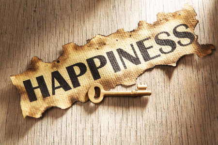 Key to happiness concept using burnt paper with word happiness printed on it and golden key placed on its side Stock Photo - 5557717