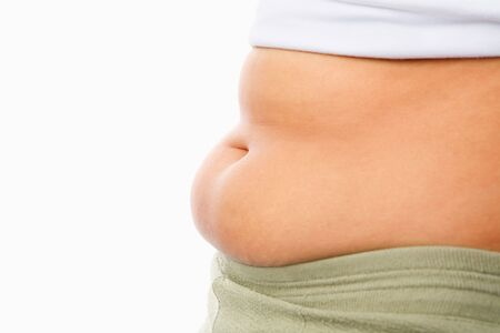 belly fat: fat womans tummy for obese concept isolated over white background