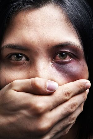 casualty: Woman being kidnapped and abused, a concept for domestic violence
