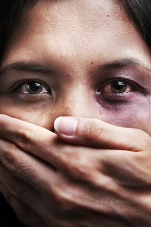 domestic violence: Woman being kidnapped and abused, a concept for domestic violence