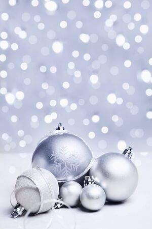 White or silver Christmas ornament over bluish background Stock Photo - 5956165