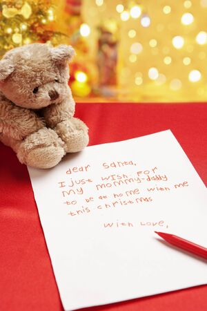 Child true wish on Christmas written on the letter to Santa photo