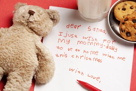 Honest child Christmas wish with teddy bear doll, cookies and milk. Concept for lonely child and orphan for Christmas photo