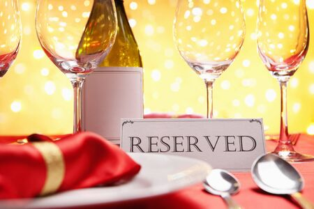 reserved sign: Reserved table concept, background using Christmas related Stock Photo