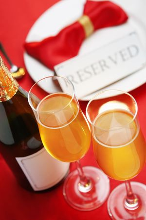 booked: Reserved table concept, background using Christmas related Stock Photo