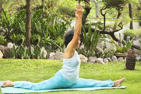 Senior Asian woman doing yoga at park in the morning Stock Photo - 6264386