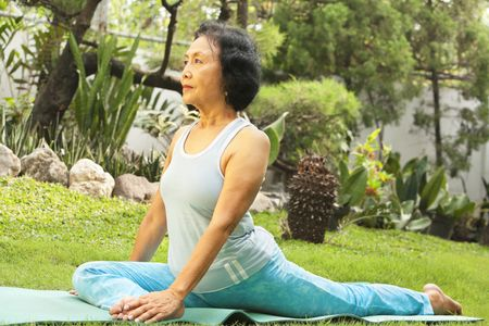 Senior Asian woman doing yoga at park in the morning Stock Photo - 6264361